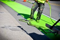 New green carpet bike lanes in font of Santa Monica City Hall