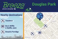 Douglas Park connects to Tacoteca, Bru's Wiffle A Waffle Joint, Bread & Porridge