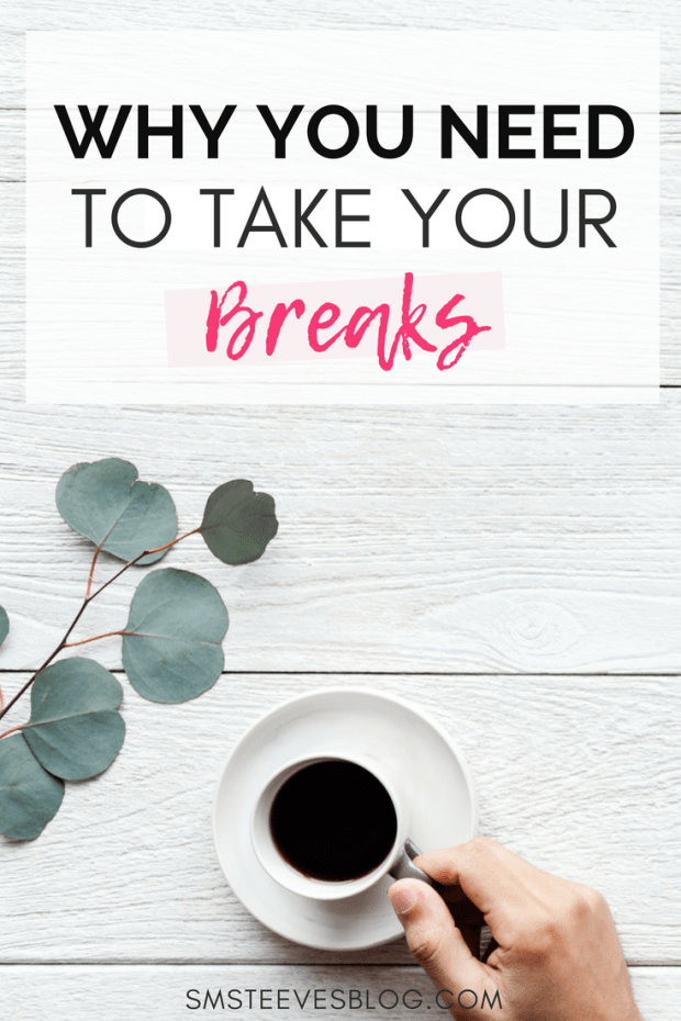 If you are feeling stressed, anxious, drained, or burnt-out at work, chances are you are not taking your much needed work breaks. Taking a break at work reduces stress and anxiety as well as improves overall happiness. Learn the importance of taking your breaks to improve work productivity, mental health, and overall wellness in this post & tips on how to implement these changes into your day-to-day routine! #mentalhealth #wellness #selfcare #tips