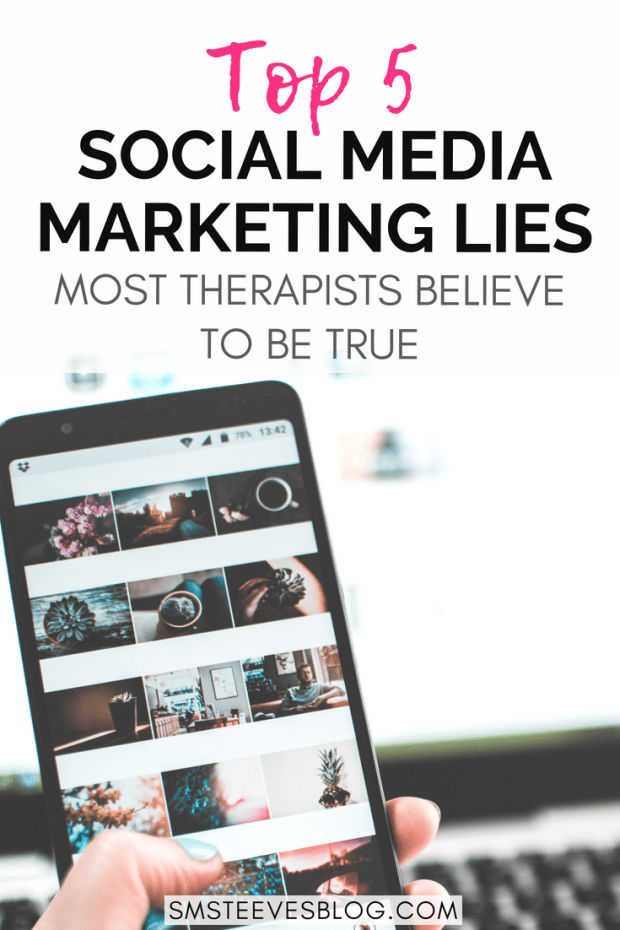 If you are a mental health therapist looking to branch into the social media world, but you're worried about HIPAA, confidentiality, and ethics, this post covers the top 5 social media marketing lies that most therapists believe to be true. It covers the ins and outs of social media marketing for your mental health therapy practice so you can increase traffic, build your brand, & reach your target audience through social media. #therapist #mentalhealth #business #marketing #tips