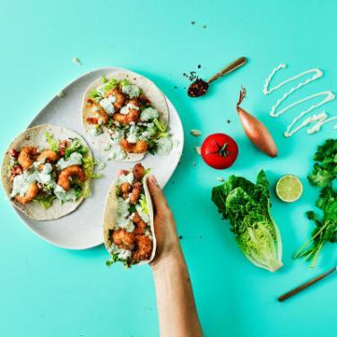 Food Box Crispy Prawn Tacos with Coriander Mayo