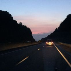 Dawn breaking as the HS Mission Team heads east for DC!