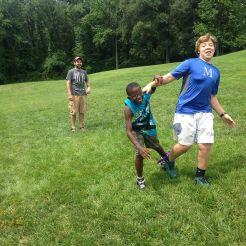 Dominating the three legged race at Kids Club!