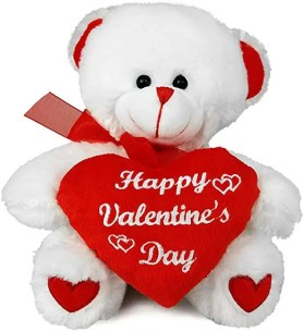 last-minute gifts and activities for valentine's day, including this white and red teddy bear