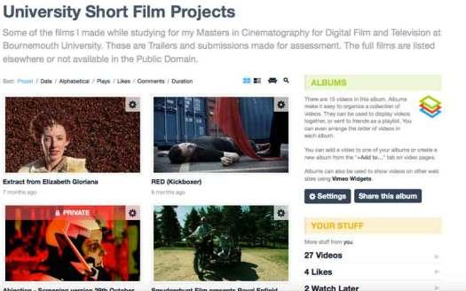 Vimeo Short Film Album
