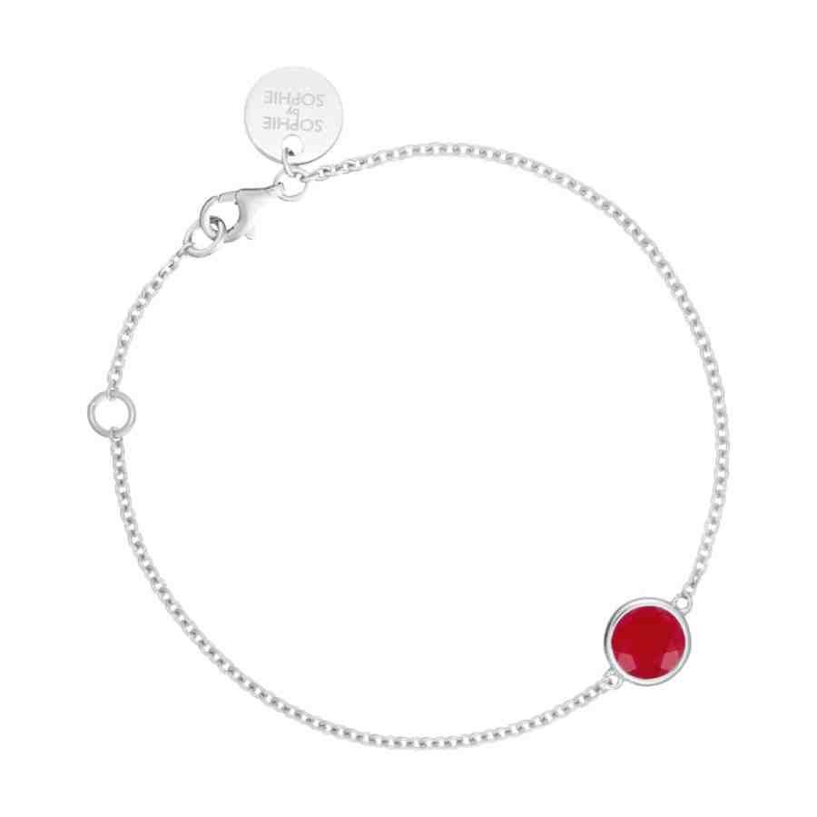 Birthstone armband Mars, silver/röd jaspis