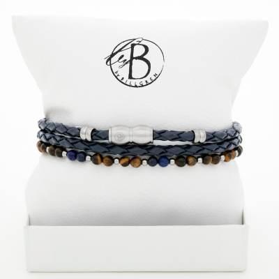 Armbandsset blått läder/lapis lazuli