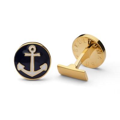 Manschettknappar The Anchor, marinblå/guld
