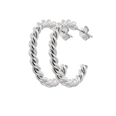 Two twinned Hoop örhängen, Silver