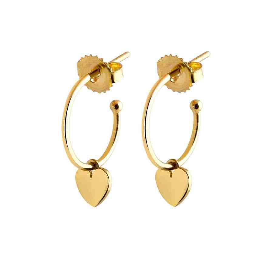 Mini Hoops Heart örhängen, guld