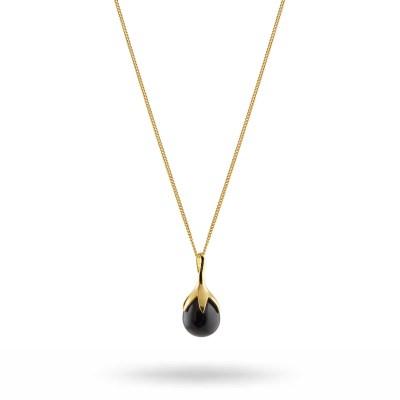 Dripping necklace, svart onyx/guld