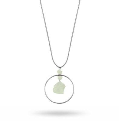 Edith globe långt halsband, silver/grön