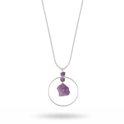 Edith globe långt halsband, silver/lila