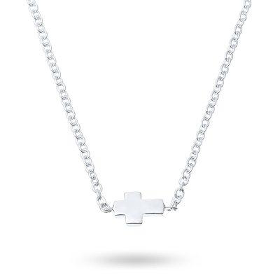 Cross chain halsband, silver