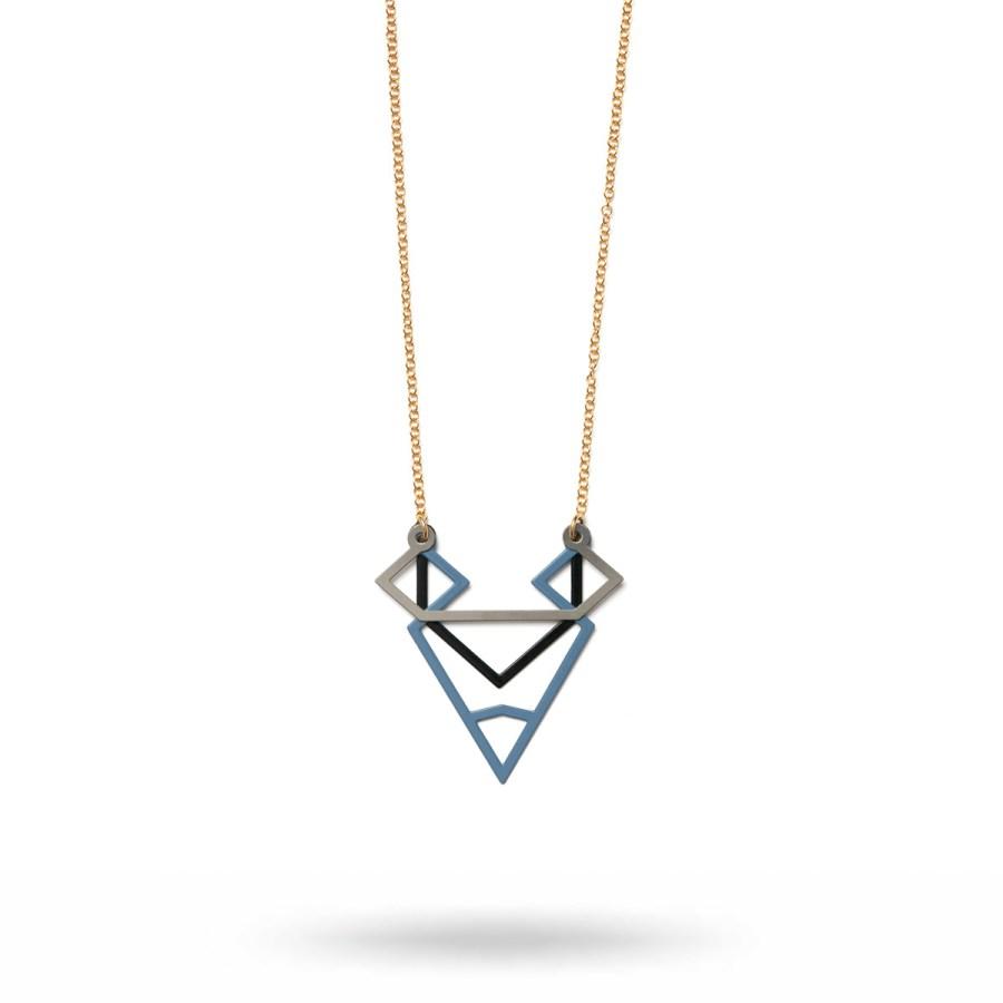 Basic Symmetric halsband, blå/svart/stål