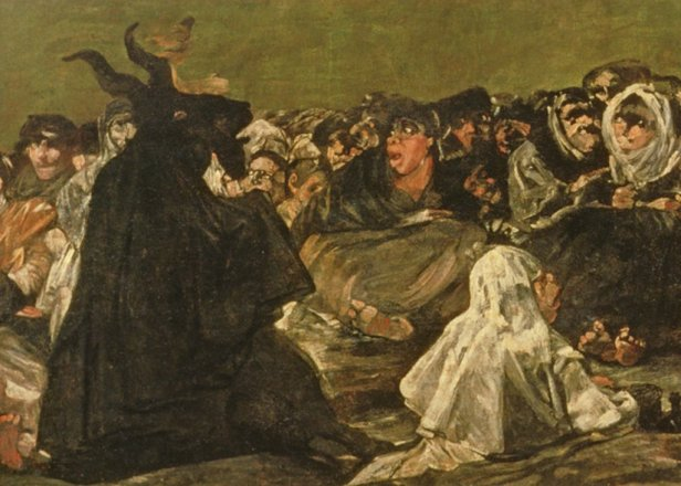 """The Witches' Sabbath or The Great He-goat, (one of """"The Black Paintings""""), c.1821-23 (oil on canvas) (detail of 38640)"""
