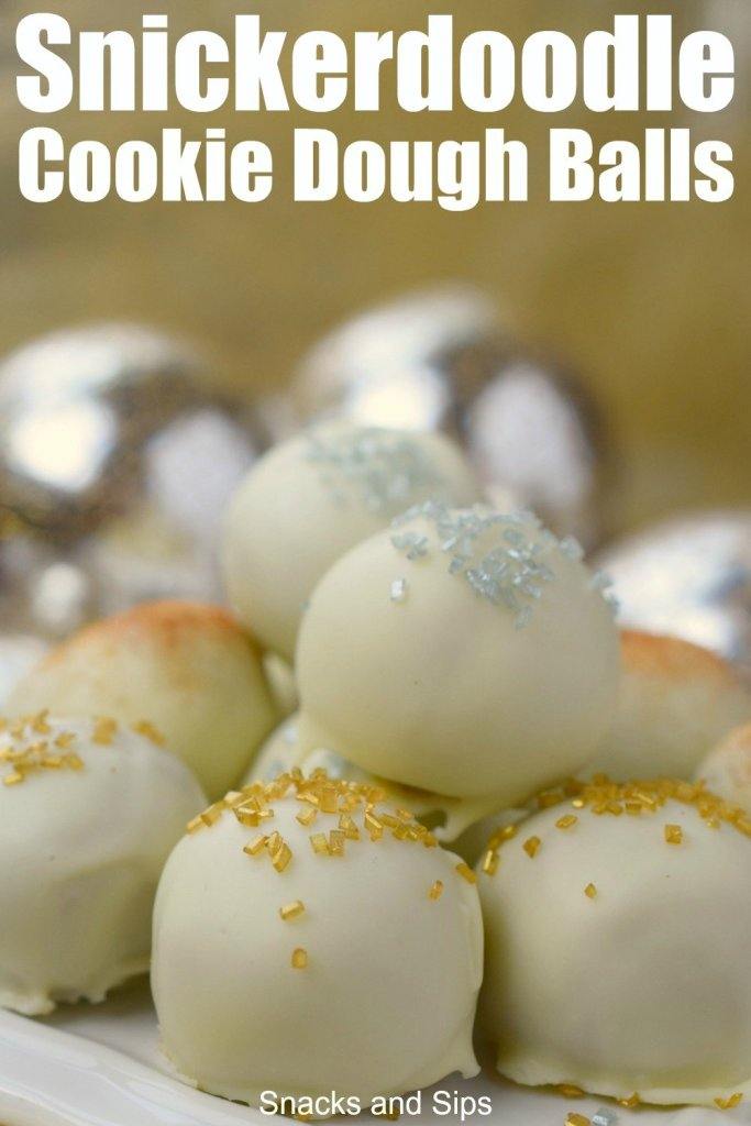Add delicious Snickerdoodle Cookie Dough Balls to your holiday menu. An easy to make no-bake dessert that will make everyone happy.