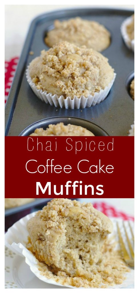 Chai Coffee Cake Muffins - A flavorful spin on a classic breakfast favorite. Coffee cake muffins flavored with chai spices and topped with a delicious crumb topping! Chai Recipe | Chai Muffin Recipe | Coffee Cake Muffins | Muffin Recipe #breakfast #dessert #recipe #easyrecipe