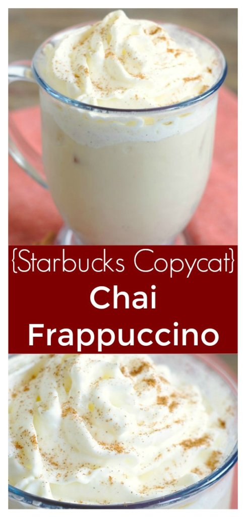 Chai Frappuccino (Starbucks Copycat) – A copycat recipe of a Starbucks chai Frappuccino made with just a few simple ingredients! So easy and delicious! Starbucks Copycat Recipe | Chai Frappuccino | Frappuccino Recipe | Frappe Recipe #drink #copycat #starbucks #recipe #chai #frappuccino #easyrecipe
