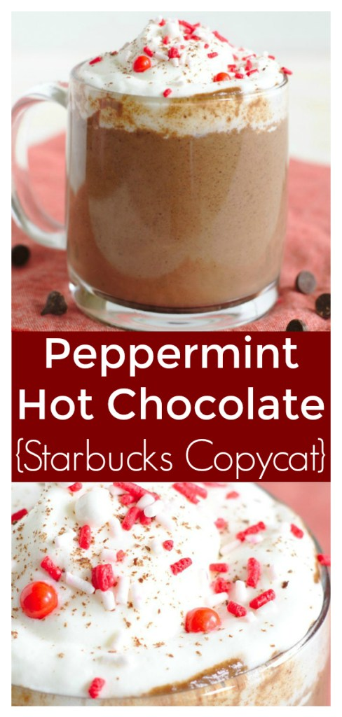 Peppermint Hot Chocolate {Starbucks Copycat} - Save money and make this Starbucks copycat recipe at home! Made with just a few simple ingredients and it tastes like the holiday season! Starbucks Copycat Recipe   Starbucks Hot Chocolate   Peppermint Hot Chocolate Recipe   Christmas Drink Recipe #christmas #starbucks #copycat #drink #easyrecipe