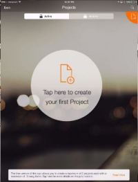 tap to create new project