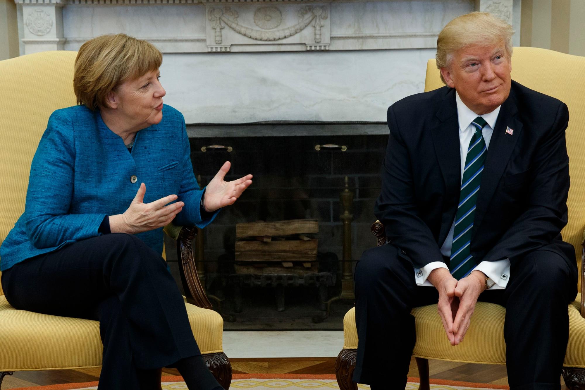 German Chancellor Angela Merkel, President Donald Trump