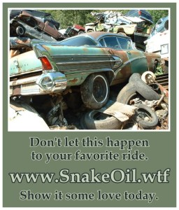 This world is filled with junkyards where formerly beloved vehicles rust and rot into Never-Never Land. Keep yours alive longer with Snake Oil by Gadgetman.