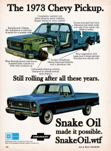 Give any old Chevy better mileage and more power with Snake Oil by Gadgetman!