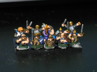 A troop of 10mm dwarves from Pendraken Miniatures