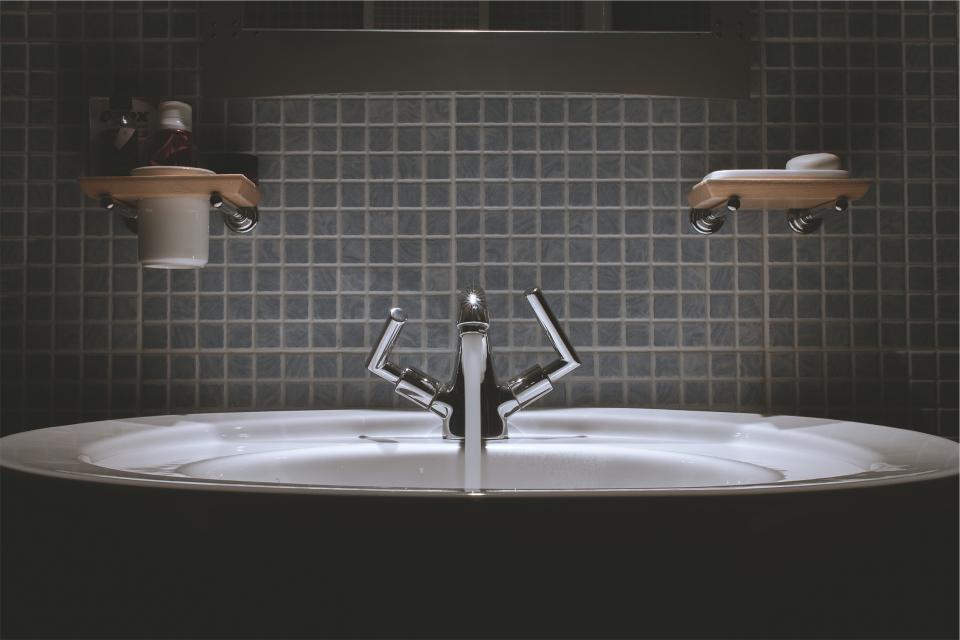 bathroom, sink, faucet, tap, water, backsplash, tiles, soap, toothpaste