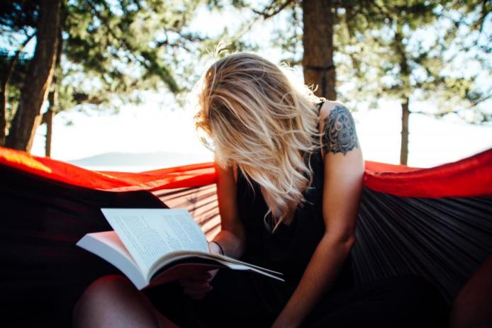 girl, woman, reading, book, outdoors, nature, summer, sunshine, blonde, tattoo, nature