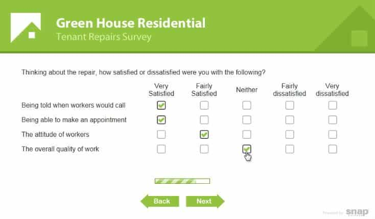 Branded survey. Enquête volledig aangepast aan corporate design.