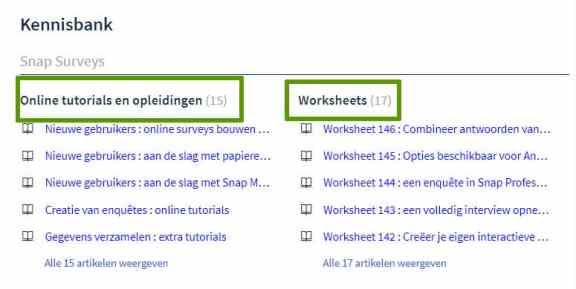 Screenshot Snap Benelux helpdesk platform tutorials worksheets