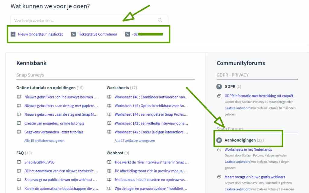 screenshot user community aankondigingen