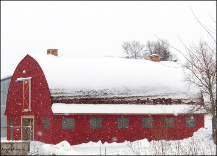 Red Barn in winter.