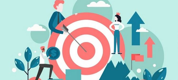 bullseye graphic with businessman pointing to target
