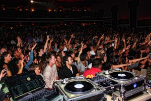 DJ Graffiti looking out over the crowd at Royal Oak Music Theatre