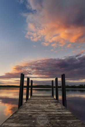 Sunset reflections as viewed from the dock at Cedar Lake (in Leelanau near Traverse City)