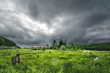 A storm passes over the Boardman River Valley south of Traverse City, Michigan