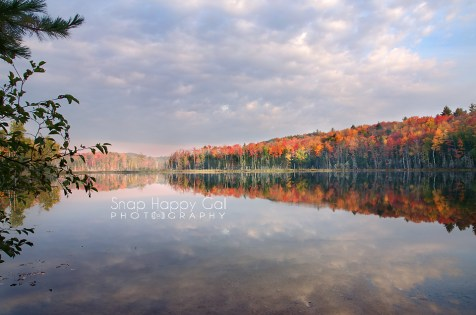 Photo: Brilliant fall color at Red Jack Lake, sky and tree reflections