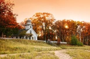 Photo: orange sunset at Mission Point Lighthouse - fall