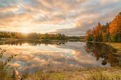 Photo: fall sunrise reflections - Sabin Pond, Traverse City, Michigan