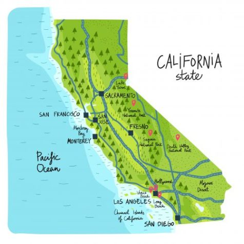 Colorful California Map with Landmarks