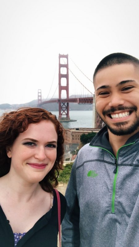 Shannon and Sal in front of Golden Gate Bridge