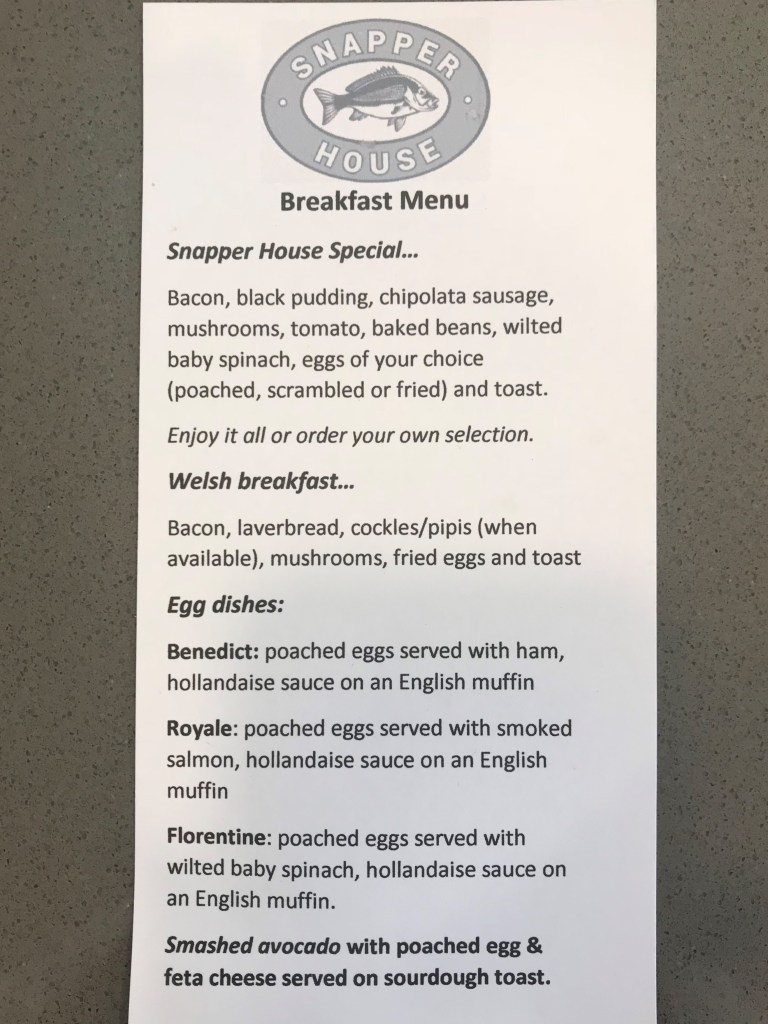 Snapper House Bed and Breakfast Menu (front)