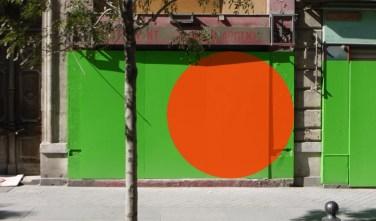 Cored paintings. 2013, first set of recessed paintings, 180 x 180 cm squares realized on green panels / Peintures évidées. 2013, première série de peintures évidées, carrés de 180 x 180 cm réalisés sur panneaux verts