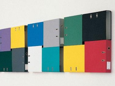 Departement I-VII. 1993, series of 4 bankers combined, 7 parts, 62 x 62 x 8 cm / Département I-VII. 1993, série de 4 classeurs liés, 7 pièces, 62 x 62 x 8 cm