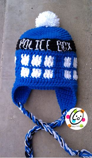 Pattern Police Box Beanie Snappy Tots