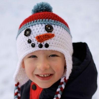Crochet Snowman Hat from Micah Makes.