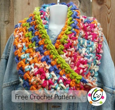 the any cowl free crochet pattern. Use any yarn, hook and make it any length.